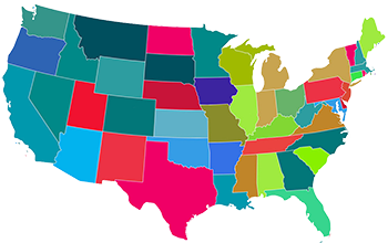 USA graphic with Elliotts Color: Service Coverage representational